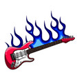 red bass guitar in flames vector image