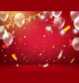 red illuminated room with balloons and flags and vector image