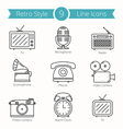Retro Style Objects Line Icons vector image vector image