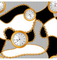 seamless pattern with golden chains and watches vector image vector image