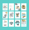 set of hand drawn summer cards and banners vector image vector image
