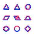 set of impossible shapes web design elements vector image