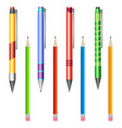 set of multi-colored pens and pencils vector image