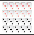 set of royal flushes isolated on white background vector image