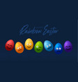 set rainbow easter eggs with emojis realistic vector image vector image
