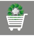 shopping cart food organic vector image vector image