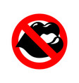 stop kiss lip on prohibiting red sign ban kisses vector image vector image