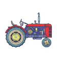 vintage agricultural tractor sketch hand drawn vector image vector image