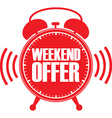 Weekend offer red alarm clock vector image vector image