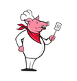 Wild Pig Hog Chef With Spatula Cartoon vector image vector image