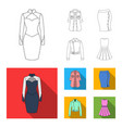 women clothing outlineflat icons in set vector image vector image