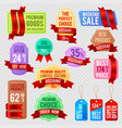 sale and discount price tags ribbon banners vector image