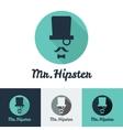 modern flat hipster face logo set for clothes shop vector image