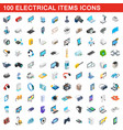 100 electrical items icons set isometric 3d style vector image vector image