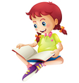 A young lady reading a book vector image vector image