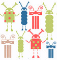 abstract robots seamless pattern colorful vector image