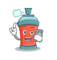 aerosol spray can character cartoon with phone vector image vector image