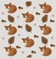 autumn forest pattern with cute foxes vector image vector image
