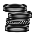 Barricade from tires icon in black style isolated vector image