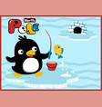 cartoon of penguins fishing time vector image