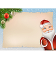 Christmas card with Santa and fir vector image vector image