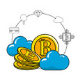 cloud data and bitcoin with icons around vector image vector image