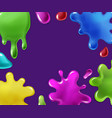 color sticky slime splashes background vector image