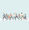 crowd people running men and women jogging vector image