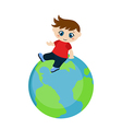 Cute boy sitting on blue planet vector image vector image
