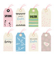 Cute hand drawn easter set of gift tags and labels