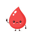 cute happy smiling blood drop vector image vector image