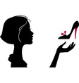 fashion girl with shoe vector image vector image