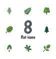 flat icon nature set of foliage alder timber and vector image
