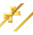 gold bow gift present golden shiny ribbon vector image