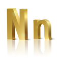 Golden letter N vector image