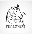 Group of pets - horse dog cat bird butterfly