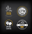 Gym and fitness club logo design sport badge vector image vector image