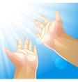 Hands outstretched to the sun vector image