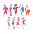 happy people in festival costumes set person vector image vector image