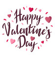 happy valentine day lettering with hearts holiday vector image
