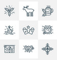 holiday icons line style set with santa gloves vector image vector image