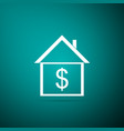 house with dollar icon on green background vector image vector image