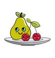 isolated kawaii fruits design vector image