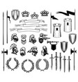 knight heraldry shields crowns armors swords vector image