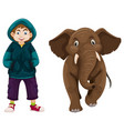 little boy and baby elephant vector image vector image