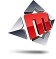 M 3d letter vector image