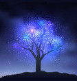 magic tree tree silhouette on hill vector image vector image