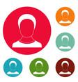 man avatar icons circle set vector image