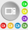 microwave icon sign Symbol on eight flat buttons vector image vector image