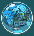 newborn astronaut and planet earth humanity vector image vector image